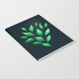 Dark Abstract Green Leaves Notebook