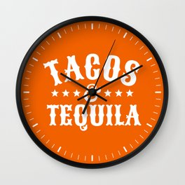 Tacos & Tequila (Orange) Wall Clock