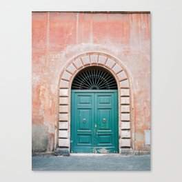 Turquoise Green door in Trastevere, Rome. Travel print Italy - film photography wall art colourful. Canvas Print