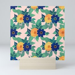 Pretty Blue Yellow floral and foliage pink Design Mini Art Print