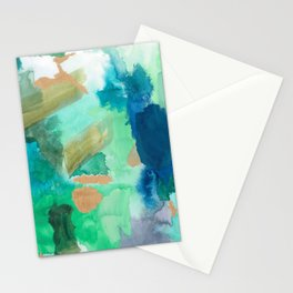 Marsh Green Abstract Stationery Cards