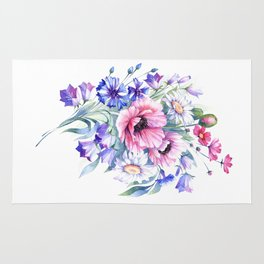 Field flowers bouquet. Watercolor illustration Rug
