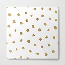 Golden touch II - Gold glitter polka dots Metal Print