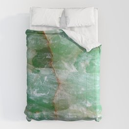 Crystalized Pale Green Quartz Slab with Copper Vein Comforters