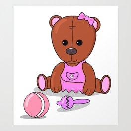 Teddy bear in a pink dress with a ball and maracas. Teddy bear girl. Art Print