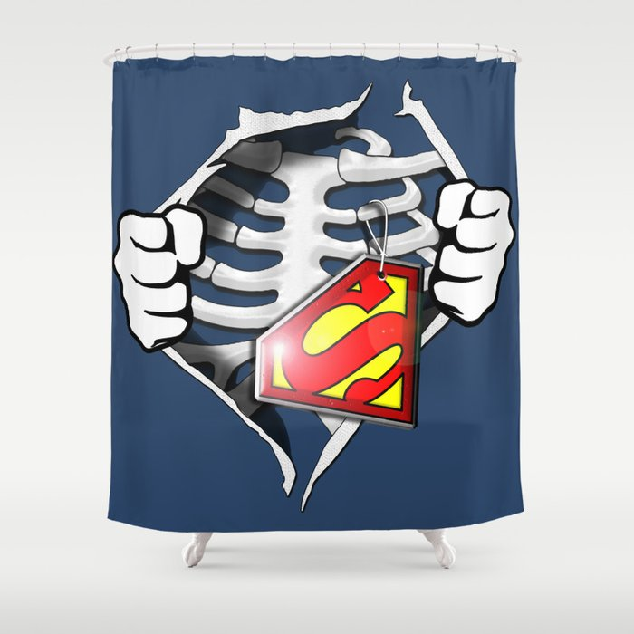 Skeleton Rib Cage With Superman Tag Shower Curtain