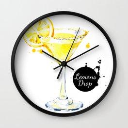 Watercolor Lemon Drops Wall Clock