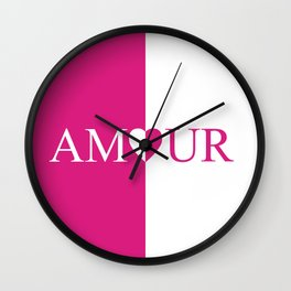 Amour Pink Design Wall Clock