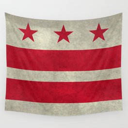 Washington D.C flag with worn textures Wall Tapestry