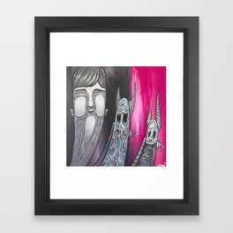 Boy and his pets Framed Art Print