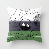 middle earth Throw Pillows featuring Middle Earth by Cécile Pellerin