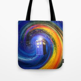 Tardis Doctor Who Fly into Time Vortex Tote Bag