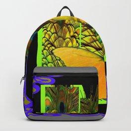 GREY-PURPLE ART NOUVEAU PEACOCK BUTTERFLY Backpack
