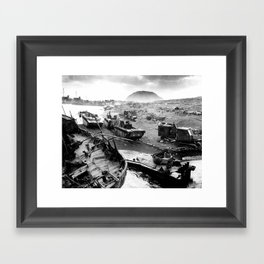 Iwo Jima Beach Painting Framed Art Print