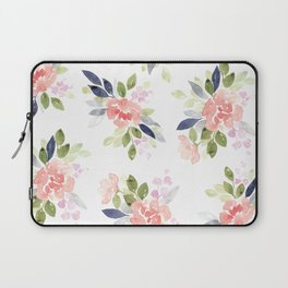 Peach & Nvy Watercolor Flowers Laptop Sleeve