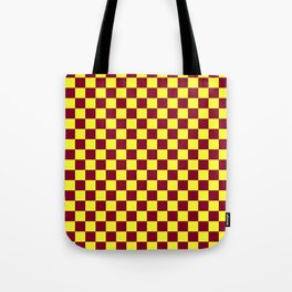 Electric Yellow and Burgundy Red Checkerboard Tote Bag