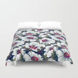 New Zealand Hibiscus Floral Print (Night) Duvet Cover