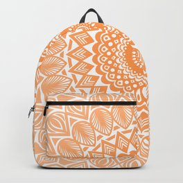 Orange Tangerine Mandala Detailed Textured Minimal Minimalistic Backpack
