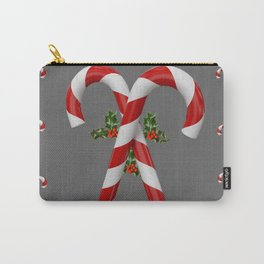 RED-WHITE  CHRISTMAS CANDY CANES HOLLY BERRIES Carry-All Pouch