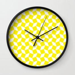 Yellow Op Art Pattern Wall Clock
