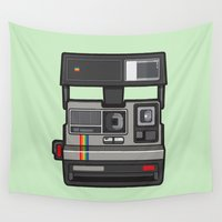 polaroid Wall Tapestries featuring #43 Polaroid Camera by Brownjames Prints