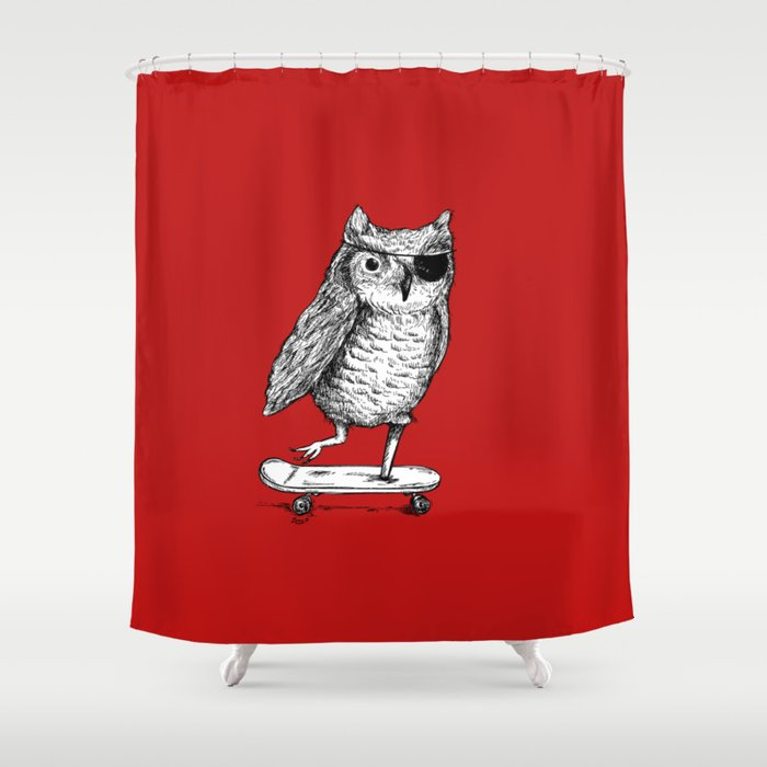 Ride On Owl_red Shower Curtain