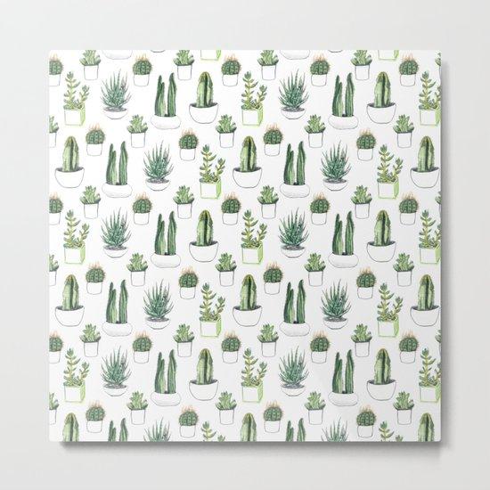 watercolour cacti and succulent Metal Print
