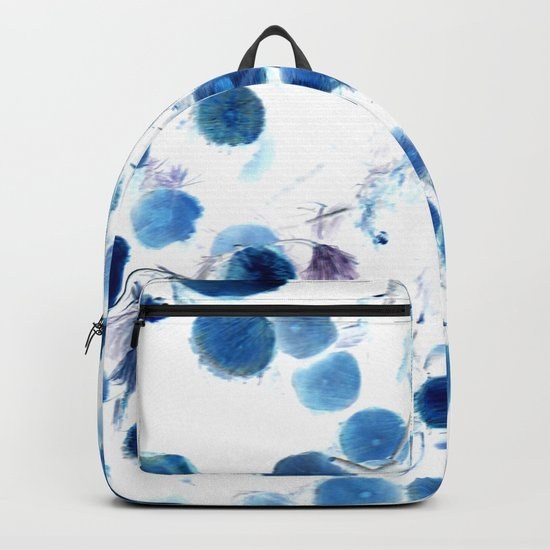 Climbing in Blue Backpack