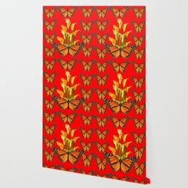 MONARCH BUTTERFLIES & GOLDEN CALLA LILIES RED ART Wallpaper