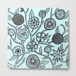Flower Pattern Blue Metal Print