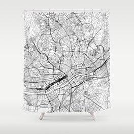Frankfurt White Map Shower Curtain