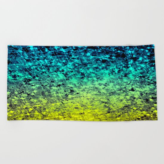 OMBRE LOVE Bold Beautiful Starry Night Glitter Abstract Painting Midnight Blue Mint Turquoise Yellow Beach Towel