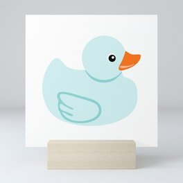 Baby blue rubber duck Mini Art Print