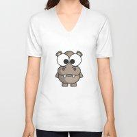 hippo V-neck T-shirts featuring Hippo by binbinrobin