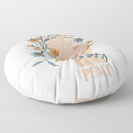 Peace Sign With Orange Flowers, Blue Flowers And Vines Floor Pillow