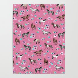 Pink Horse Print, Hand Drawn, Horses and Flowers, Girls Room, Poster