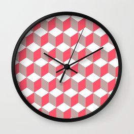 Diamond Repeating Pattern In Poppy and Soft Grey Wall Clock