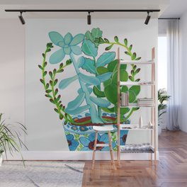 Indian Pot with Succulents Wall Mural