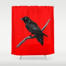 Decorative Chinese Red Black Crow Design Shower Curtain