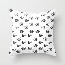 Hand drawn black white watercolor eye pattern Throw Pillow
