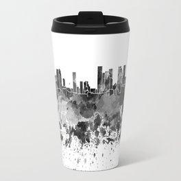 Tel Aviv skyline in black watercolor Travel Mug