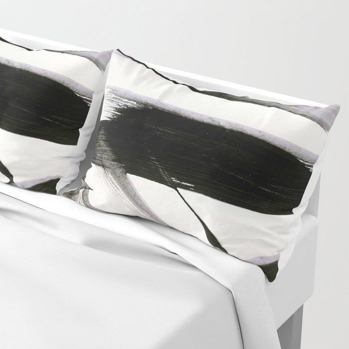 Brushstroke 9: a bold, minimal, black and white abstract piece Kissenbezug