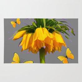 BUTTERFLIES YELLOW CROWN IMPERIAL FLOWERS Rug
