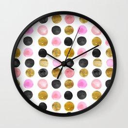 Chic Painted Circle Pattern - Black, Gold, Pink Wall Clock