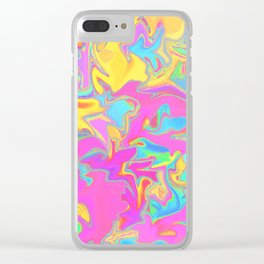 pink oil slick Clear iPhone Case
