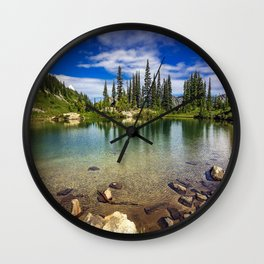 Mountain Lake in the Mt Rainier National Park Wall Clock