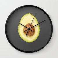 avocado Wall Clocks featuring avocado by jon hamblin