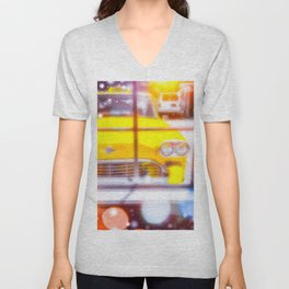 yellow classic taxi car with colorful bokeh light abstract background Unisex V-Neck