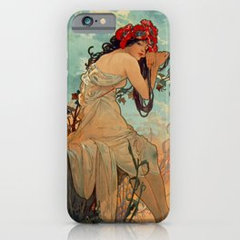 1896 SUMMER - 4 Seasons Alphonse Mucha Art Nouveau Goddess Vintage Lithograph French iPhone Case