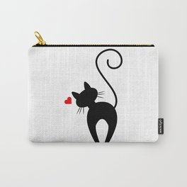 Silhouette Black Cat Red Border Carry-All Pouch